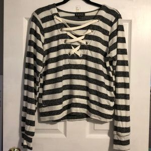 Grey and white striped sweater with ribbon